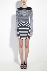 Printed paneled long sleeved fitted jersey top & striped skirt