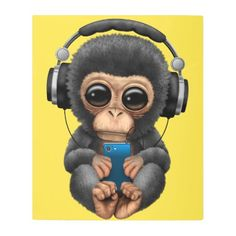 posters metal art baby chimp with headphones and cell phone metal
