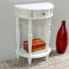 Shop for International Caravan Windsor Antique White Carved Hardwood Half Moon 2-tier Wall Table. Get free shipping at Overstock.com - Your Online Furniture Outlet Store! Get 5% in rewards with Club O! - 15430648
