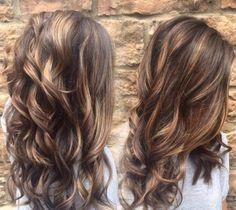 dark brown hair with caramel highlights before and after | Hair ...