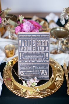 Glamorous spring wedding inspiration in gold, black and lots pink!