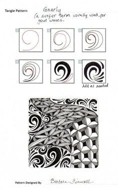 Online instructions for drawing Barbara Finwall's Zentangle® pattern: Gnarly. Tangle Doodle, Tangle Art, Zen Doodle, Zentangle Drawings, Doodles Zentangles, Doodle Drawings, Doodle Patterns, Zentangle Patterns, Zen Art
