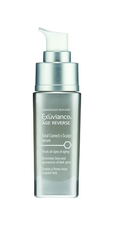 Experience 3D rejuvenation with New Exuviance AGE REVERSE Total Correct + Sculpt Serum and visibly correct all signs of skin aging. A patented Triple Antiaging Complex with AminoFil® strengthens skin's underlying matrix to lift and firm for a more sculpted, youthful look. 100% of participants noted skin was firmer after only 4 weeks* *Used twice a day as part of an Exuviance Regimen. Data on file, NeoStrata Co., Inc.