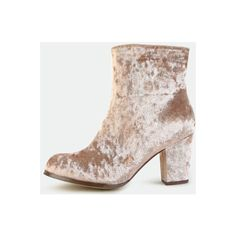 SheIn(sheinside) Velvet Block Heel Ankle Boots TAUPE (590.565 IDR) ❤ liked on Polyvore featuring shoes, boots, ankle booties, brown, taupe bootie, brown ankle booties, bootie boots, low heel booties and velvet ankle boots