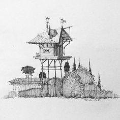 Немного архитектурного бреда... #скетч #скетчбук #архиграфика #archsketch #sketchbook #archfantasy