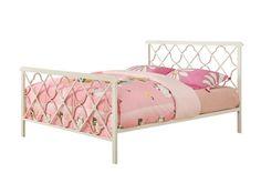 Casual White Pink Metal Twin Size Bed