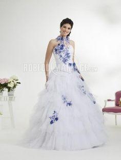 Robe de mariée en couleur broderie tulle traîne courte