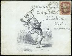 "✿ Hand Illustrated and Later Printed Envelopes: 1874 (Apr. 24th) superb pen and ink illustrated envelope depicting the White Rabbit from Alice in Wonderland which was published nine years earlier, with the artist's initials ""PB"" incorporated into the design at foot, used from London to Hitchin and franked 1864-79 ✿"