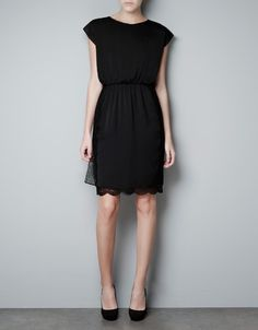 little black dress. DRESS WITH LACE SKIRT - Dresses - Woman - ZARA Canada