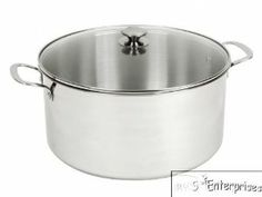 15 quart Stainless Steel stock pot with lid 5mm encapsulated bottom NEW by CWC. $40.00. Retail value: $69.99   You are bidding on a brand new 15 quart stainless steel stock pot with lid.  This stock pot is brand new in the box and has never been used!!  15 quart stock pot has many features including: * 15 quart stainless steel stock pot. * Tempered glass lid with handle. * 5MM encapsulated bottom. * Stainless steel handles. * 18/10 heavy duty stainless steel.