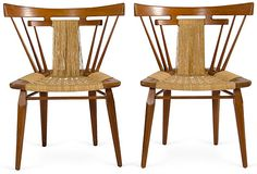 """""""1950s pair of unique sculptural teak side chairs designed by Edmund Spence in the manner of Nakashima or Wegner."""""""