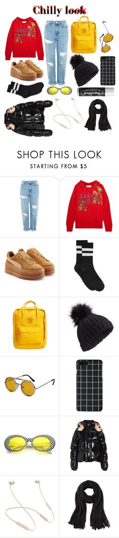 """""""My chilly look ( gotta have them clout goggles)"""" by alexandralsaenz ❤ liked on Polyvore featuring Topshop, Gucci, Puma, HUE, Fjällräven, Miss Selfridge, Spitfire, Chapstick, Moncler and Beats by Dr. Dre"""