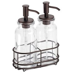 InterDesign Westport Double Soap and Lotion Dispenser Pump Caddy - Clear/Bronze