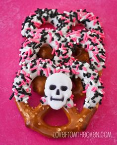 Chocolate covered Halloween Pretzels.  My favorite no bake, easy to make, always well received treat.