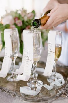 Champagne flute paper curls for wedding ideas