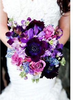 Orchid Wedding Inspiration Radiant orchid, deep purples and pink bouquet. Photo Source: lisawola Frost I would like this at my wedding!Radiant orchid, deep purples and pink bouquet. Photo Source: lisawola Frost I would like this at my wedding! Blue Purple Wedding, Purple Wedding Bouquets, Wedding Colors, Wedding Styles, Bridal Bouquets, Fall Bouquets, Flower Bouquets, Bridesmaid Bouquets, Wedding Themes