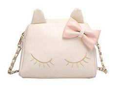 Sac à main pour femme beige en cuire synthétique et en forme de chat aux yeux fermés avec noeud de papillons rose
