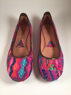 fe0ac4e04fe ITZA COLORFUL FLATS Guatemalan hand woven with brown genuine leather