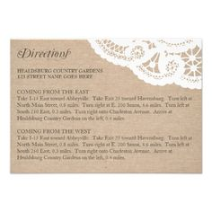 See MoreBurlap Lace Wedding Directions Enclosure Cardwe are given they also recommend where is the best to buy
