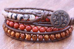 Brown Leather Wrap Bracelet Red Jasper, Dalmatian Jasper, Bronze Crystals