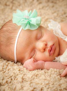 15% off, newborn headband, Baby Headbands, Headband, mint green bow, Head band, Baby Bows, newborn Headband, baby girl Headband on Etsy, $8.50