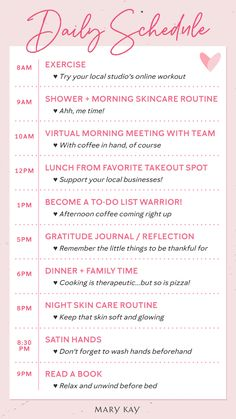 Daily Routine A daily schedule that's all about self-care! Because staying connected with those you love, including yourself, is so important. Frases Mary Kay Ash, Mary Kay Ash Quotes, Mary Kay Botanicals Set, Happy Birthday Mary, Mary Kay Eyeshadow, Mary Kay Lip Gloss, Mary Kay Brushes, Beauty Quotes, Makeup Quotes