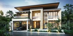 Elegant And Cozy Home Desain Ideas 22 Modern Tropical House, Tropical Houses, House Front Design, Modern House Design, Street House, Dream Home Design, Modern House Plans, Facade House, Cozy House