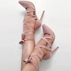 Cross Strap Lace-Up Pointed Toe Pumps USD $42.99