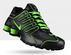 Tênis Nike Shox Men's Turbo NZ ID Black Green Personalizado #Tenis #Nike
