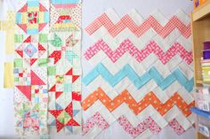 Love the color combinations! Pieced blocks from Canton Village Quilt Works BOM. FREE
