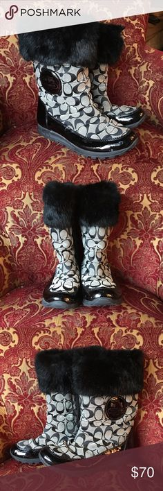 Coach boots💓 These classic boots are absolutely perfect for winter! Worn a handful of times with LOTS of life left. One small white scuff on the heel as shown in the last picture, other then that in PERFECT condition. Coach Shoes Winter & Rain Boots