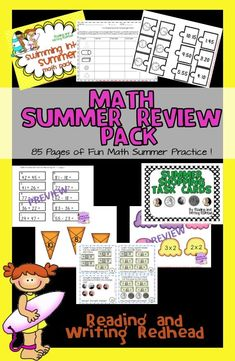 85 pages of super fun summer math practice! Great to send home with your students to prevent summer slide, to use with your own child or homeschooler, or to use the last few weeks of school! Includes no-prep printables, games and other fun activities!