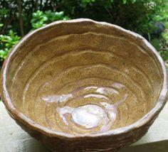 Vintage Handmade Handglazed Rustic Texture Primitive Pottery Stoneware Bowl via Etsy
