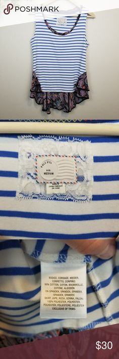 "Postmark • Blue & White Striped Hi-Low Tank Top Blue and white striped body with paisley print sheet material at the bottom. Longer in the back than the front. Excellent condition. Smoke free home.  Pit to pit: 17.5"" Length shoulder to hem: 21.5""  🚫no modeling 🚫no trades H31 Anthropologie Tops Tank Tops"