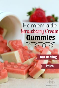 Strawberry Cream Gummies #gelatin #healthysnacks
