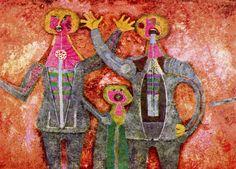Tres personajes cantando - Rufino Tamayo, 1981. Óleo sobre tela. 95 x 135 cm.