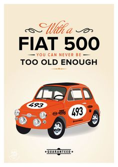 Retro Fiat 500 - cinquecento art print wall decor, italy classic car, sport abarth housewarming
