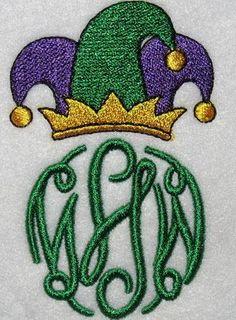 Mardi Gras Jester Monogram | Apex Embroidery Designs, Monogram Fonts & Alphabets