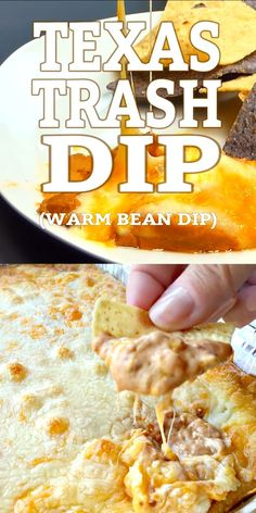 Appetizer Recipes Discover TEXAS TRASH DIP (WARM BEAN DIP) Creamy warm bean dip packed with flavor and topped with all sorts of ooey gooey cheese baked to dipping perfection. Make a meal out of this dip! Appetizer Dips, Yummy Appetizers, Appetizers For Party, Easy Party Dips, Mexican Food Appetizers, Crock Pot Appetizers, Quick Party Food, Southern Appetizers, Crock Pot Dips