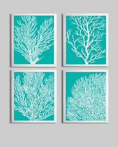 Coral Ocean Beach Sea Prints Tiffany Blue White Custom Colors - Gender Neutral Nursery Beach Theme