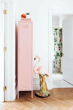 The Skinny in Blush by Mustard Made - The Skinny Locker wants to help. She'll keep your stuff neat and tidy. Standing alone or in paired with friends The Skinny is elegant, beautiful and practical. Storage for your kids room, home or work space. Tall Cabinet Storage, Locker Storage, Tv Storage, Hanging Rail, Neat And Tidy, Loft Style, House And Home Magazine, Home Office, Adjustable Shelving