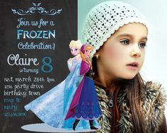 Frozen birthday invitation - Disney's Frozen - Disney Princess - Princess Anna - Girl Chalkboard Card - Printable