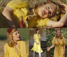 Glorious 39 Fashions - Simple tea dress in yellow chiffon, floaty chiffon sleeves with side slits