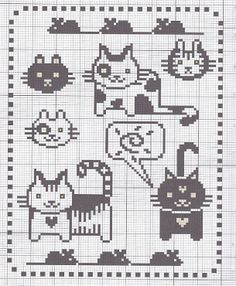 Cute cats for cross-stitch or knitting chart.