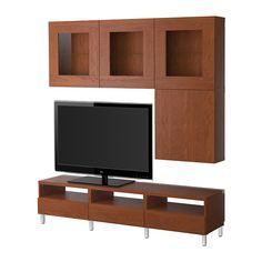 BESTÅ TV storage combination/glass doors - Vara medium brown - IKEA  reg. $454.00  Article Number:  790.215.23  Vara medium brown