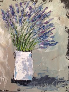 Lavender bunch Oil with pallet knife By Juanette Menderoi