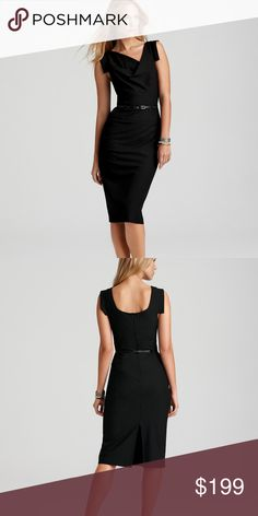 Black Halo Jackie O Belted Sheath Dress 8 Black Halo Sophisticated yet sultry, classic sheath dress features an asymmetric neckline and a wisp of a leather belt. ticket price $345.00 Black Halo Dresses Midi