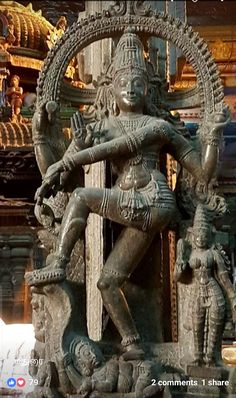 This is one of the hundreds of God's statues in Meenakshi Amman Temple, Madurai. See the details of the carving on stone, really marvellous Lord Nataraja. Only Shiva's divine power can do wonders. 🌼🙏