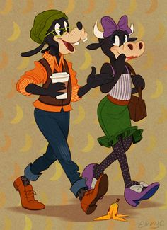 Goofy and his on-again-off-again girlfriend Clarabelle Cow! Emily Cicierga. SO CUTE.