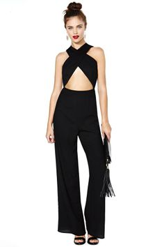 I would so wear this if I had a date with my hubby to an upscale lounge...Nasty Gal Cross My Heart Jumpsuit